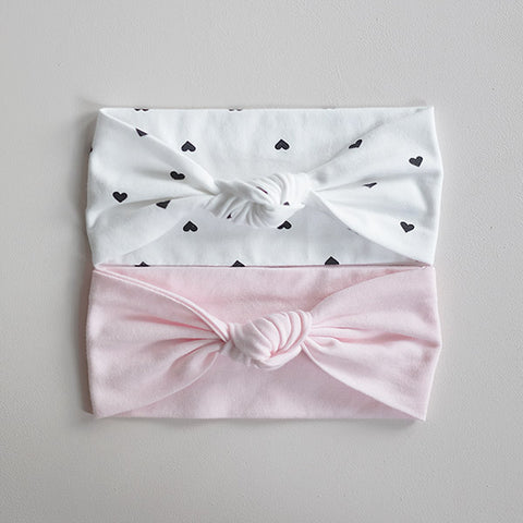 2 PC Combo Child Knot Headwraps - Pink and White with Mini Hearts