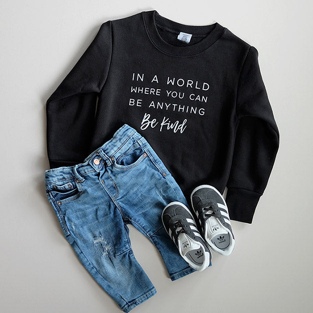 """Be Kind"" Child Sweatshirt Black"