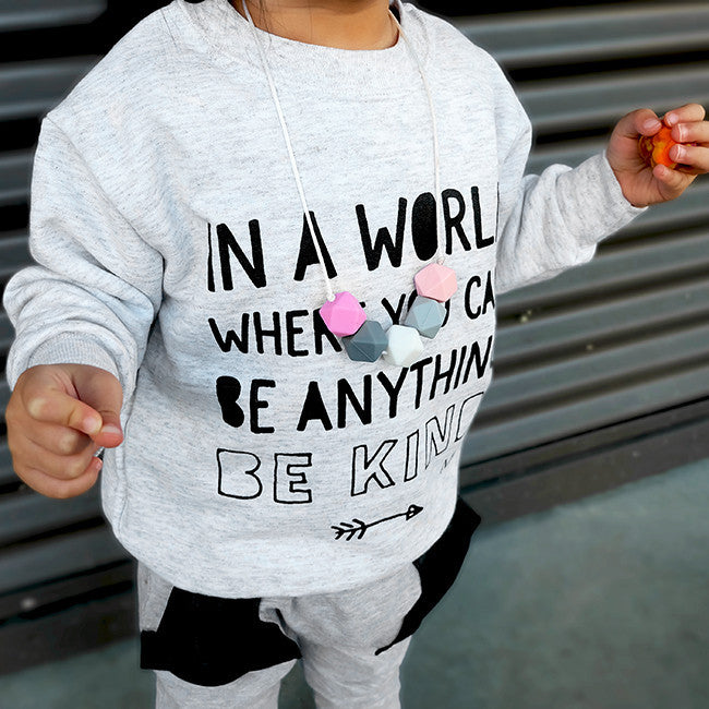 "SALE ""Be Kind"" Child Sweatshirt Light Grey"