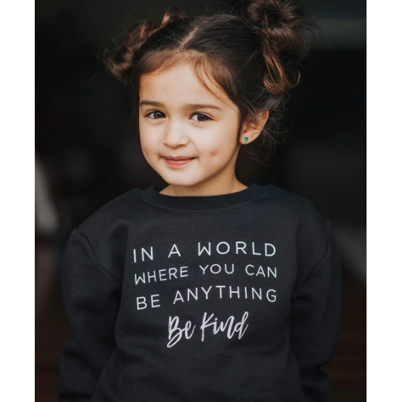 """Be Kind"" Child Sweatshirt Black - Size 4"
