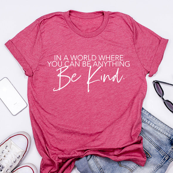 """Be Kind"" Adult Berry Pink T-Shirt"