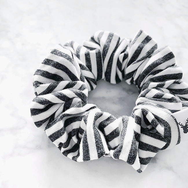 Charcoal and White Stripe Hair Scrunchie