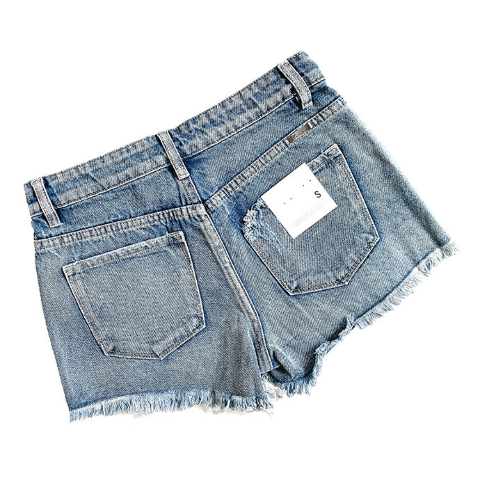 """Chloe"" - Adult Denim Ripped Jean Shorts Frayed Bottom Hem - Size Large"