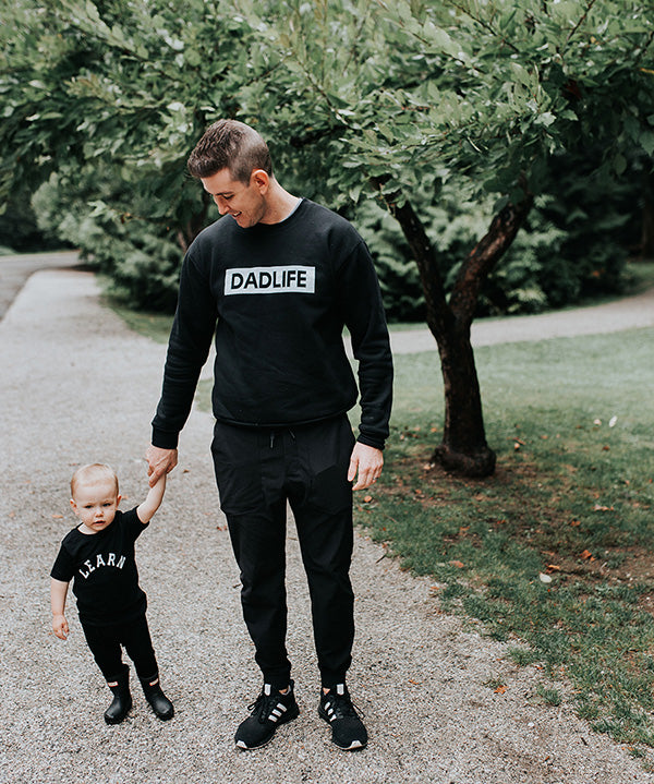 """Dad Life"" Solid Black Mens Crewneck Sweatshirt"