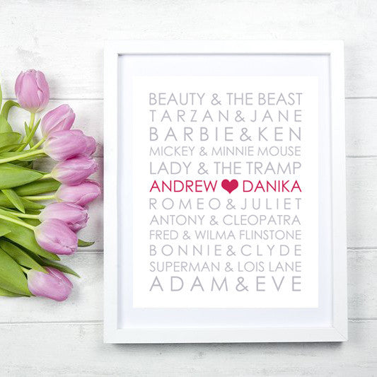 Wedding Anniversary Famous Couples - Print - Personalize the names of the couple