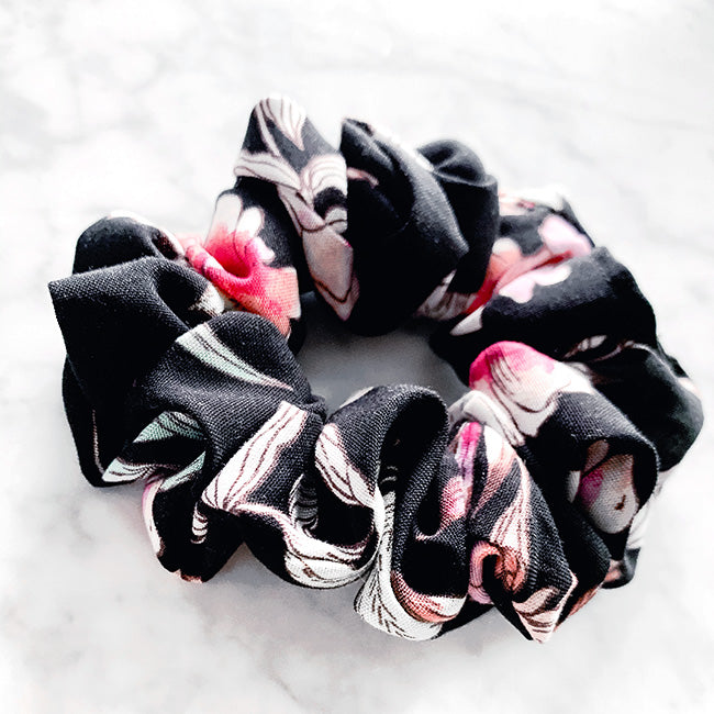 Chloe Black Floral Hair Scrunchie