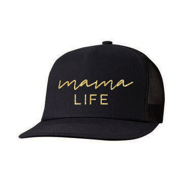 "SALE ""Mama Life"" Black Cap with Gold Glitter Design"