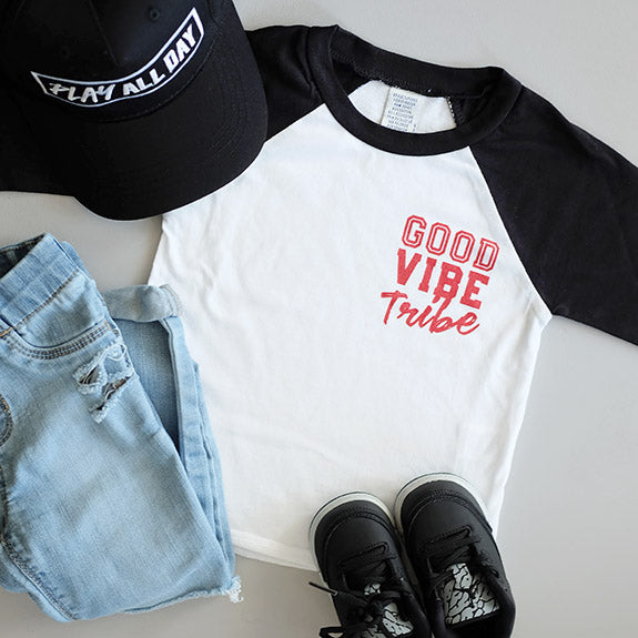 """Good Vibe Tribe"" Child Baseball Raglan"