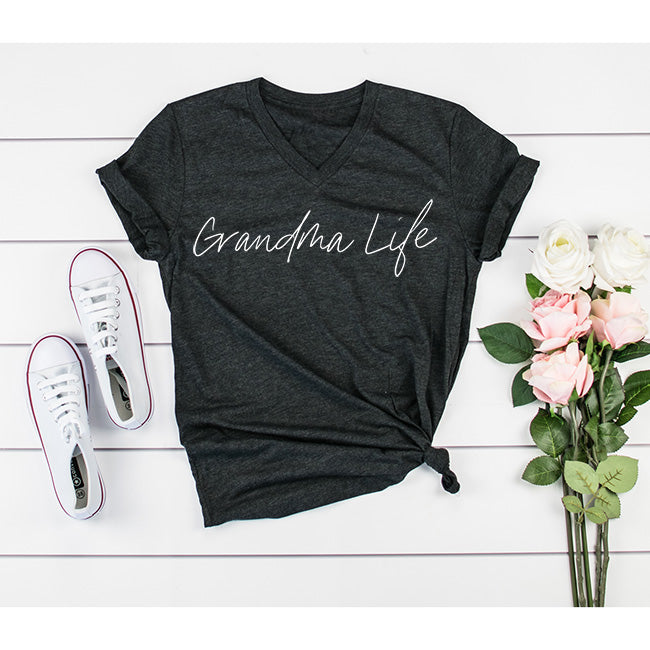 """Grandma Life"" Triblend Charcoal Adult Ladies V-Neck T-Shirt"