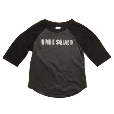 """Babe Squad"" Child Black and Grey Raglan - 6 Months Only"