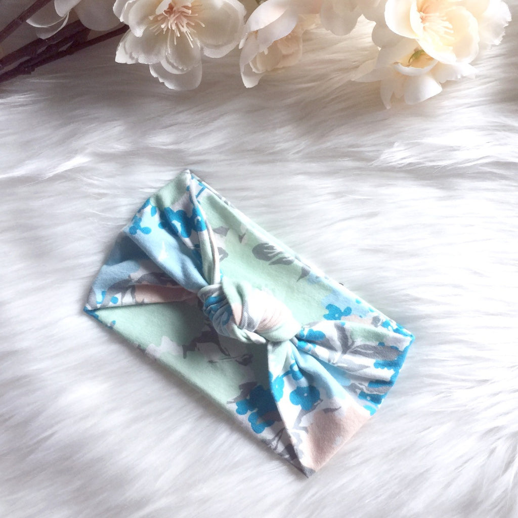 Blue Floral Knot Turban Headband