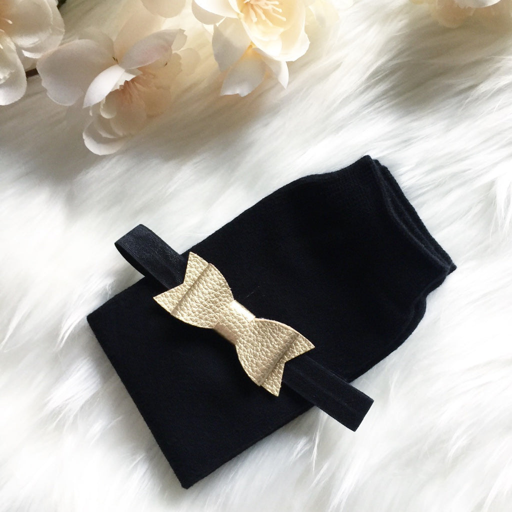 SALE Black Leg Warmer and Gold Bow Headband Set