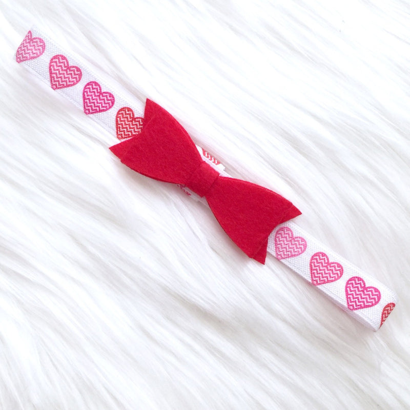Valentine's Day Heart Elastic Headband with Red Bow