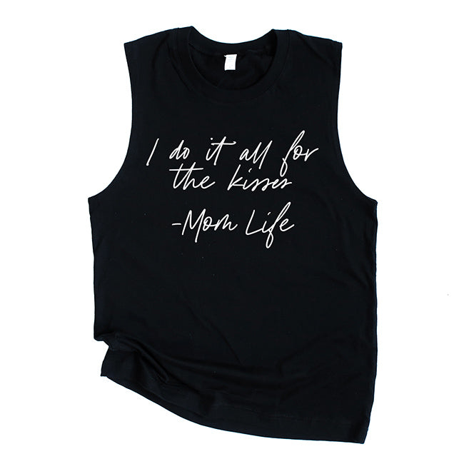 """I do it all for the kisses"" Black Adult Ladies Tank Top - Size Medium"