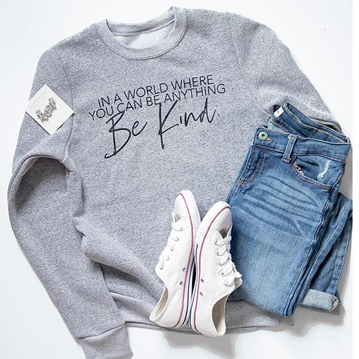"""In a world where you can be anything be kind"" Ladies Grey Marled Sweatshirt"