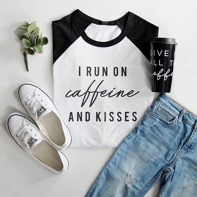 """I Run on Caffeine and Kisses"" Ladies Adult White and Black Raglan - Size 2XL Only"