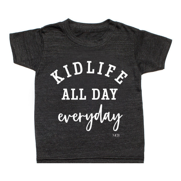"SALE ""Kid Life All Day Everyday"" Child Tee - Dark Grey"
