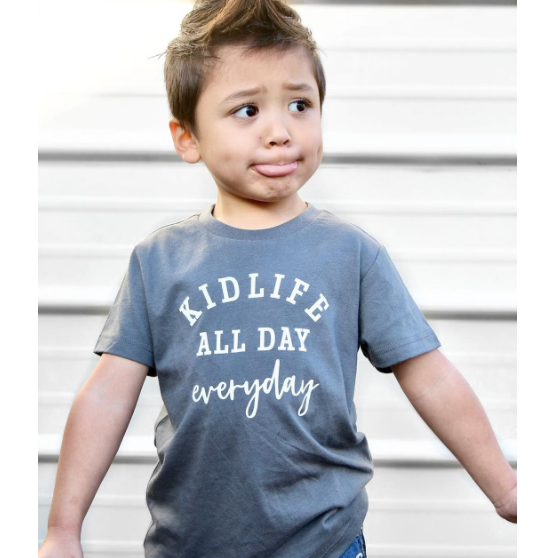 """Kid Life All Day Everyday"" Child T-Shirt Charcoal Grey - Size 18 Months"