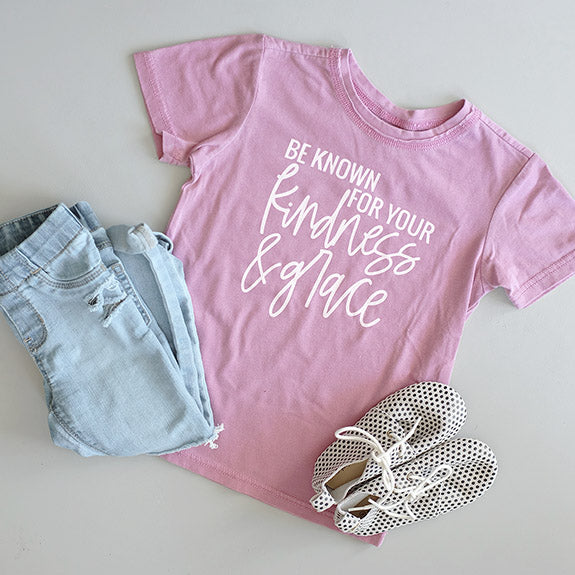 """Be Known for your Kindness & Grace"" Vintage Mauve Child T-Shirt - Size 4T"
