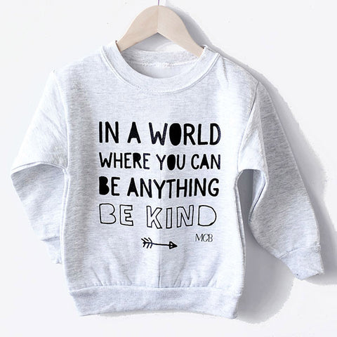 """Be Kind"" Child Sweatshirt Light Grey"