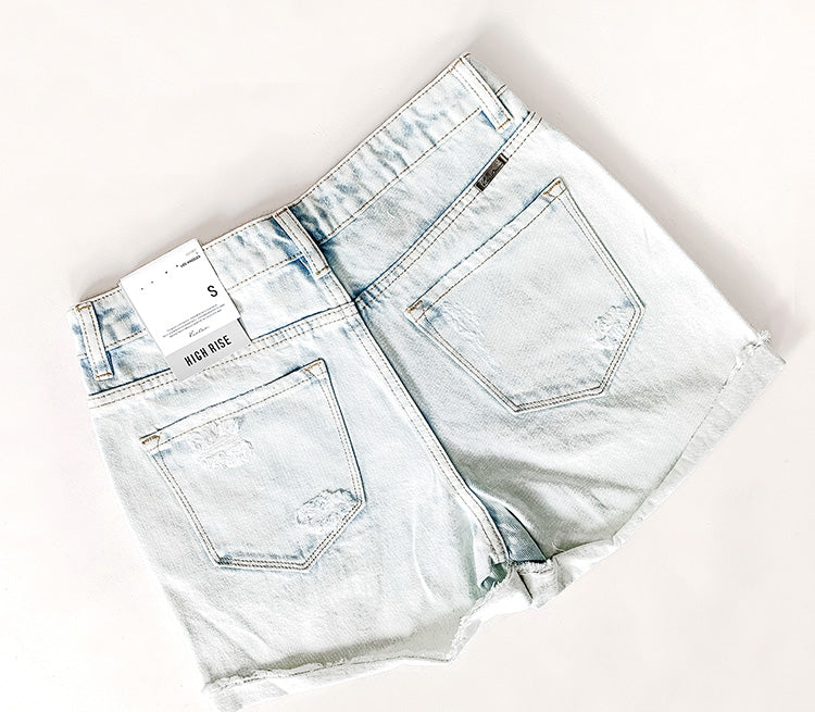 """Lucy"" - Adult Denim Distressed Light Wash Jean Shorts"