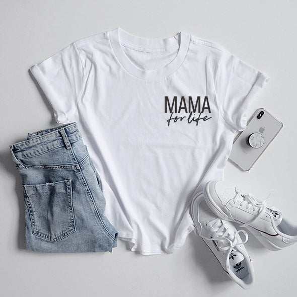 """Mama for Life"" Ladies White Boxy Crewneck T-Shirt"