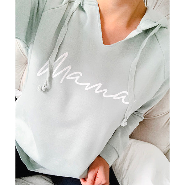 Mama - Ladies Adult Seafoam Green Hoodie Sweatshirt