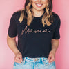 """Mama"" Adult Ladies Black Crewneck T-Shirt with Rose Gold Ink"