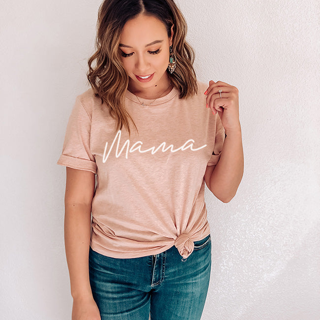 """Mama"" Adult Ladies Peach Crewneck T-Shirt with White Ink - Size XL"