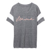 """Mama"" Adult Grey/Peach V-Neck Varsity Tee"