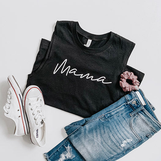 """Mama"" Black Adult Ladies Tank Top - Size XL"
