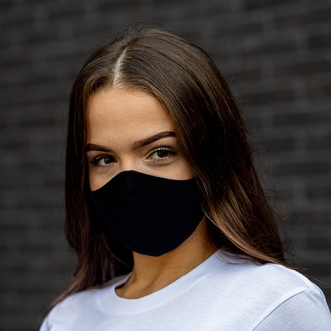 Plain Solid Black Cloth Face Mask