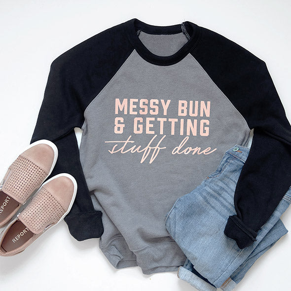 Grey/Black Messy Bun and Getting Stuff Done Ladies Crewneck Sweatshirt - Size Small