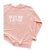 """Messy Bun & Getting Stuff Done"" Ladies Peach Crewneck Sweatshirt"