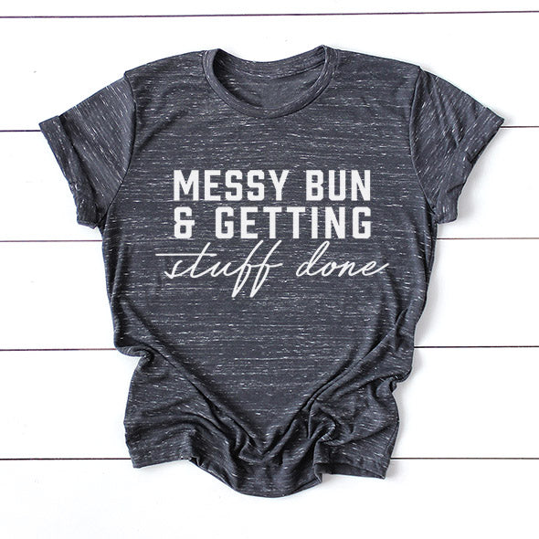 """Messy Bun and Getting Stuff Done"" Adult Grey Marble Crewneck T-Shirt"