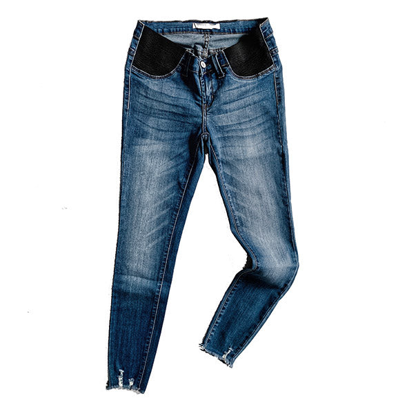 """Mila"" - Maternity** Adult Dark Blue Denim Distressed Jeans"