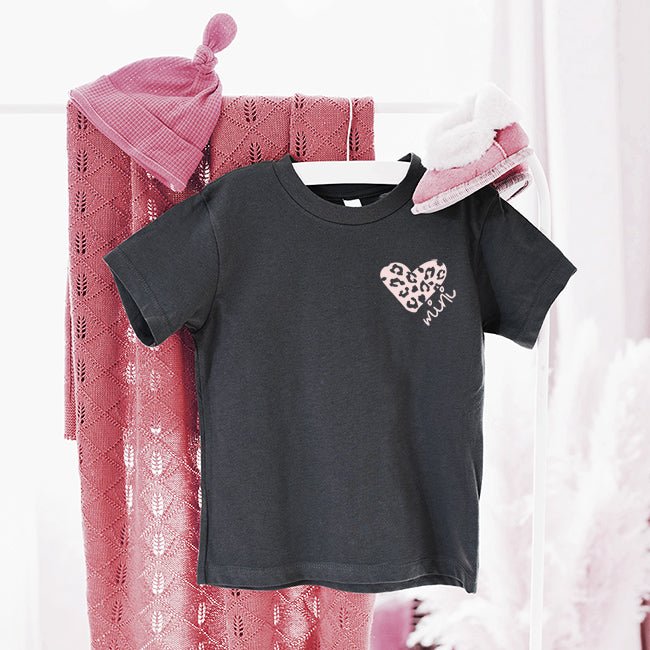 """Mini"" Peach Leopard Heart Child Charcoal Crewneck T-Shirt"