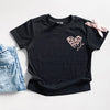 """Mini"" Rose Gold Leopard Heart Child Black Crewneck T-Shirt - Size 18 Months"
