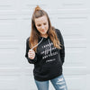 """I Run on Caffeine and Kisses"" Ladies Black Fleece Hoodie Sweatshirt"
