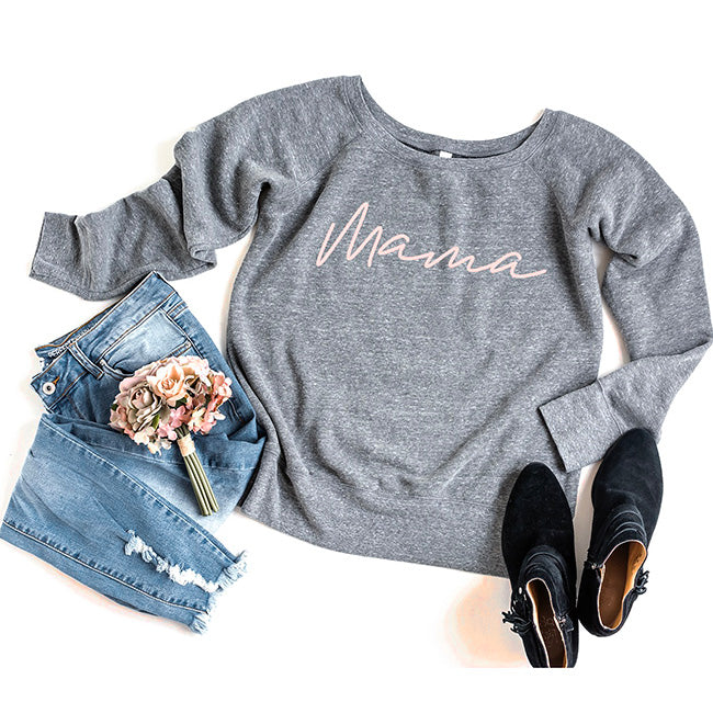 """Mama"" Ladies Triblend Grey/Peach Wide Neck Sweatshirt"