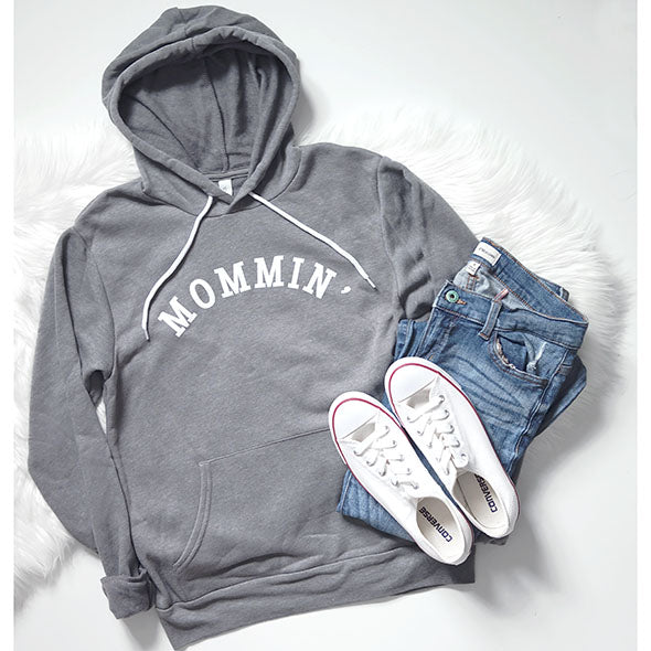 SALE Mommin' Ladies Grey Fleece Hoodie Sweatshirt - Size Small