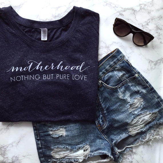 SALE Ladies Motherhood Nothing But Pure Love Navy Adult Tee - Small Only