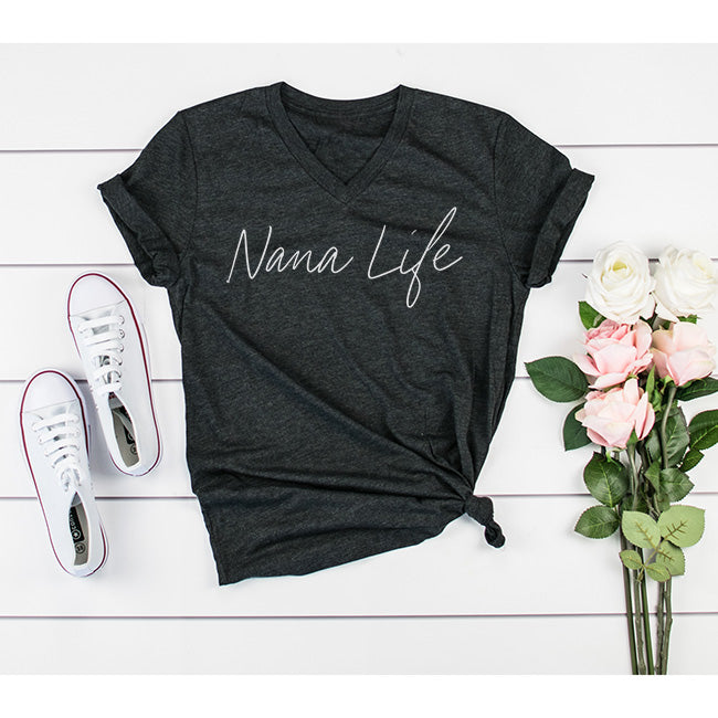 """Nana Life"" Triblend Charcoal Adult Ladies V-Neck T-Shirt"