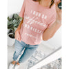 """I Run on Caffeine and Kisses"" Ladies Dusty Rose Pink Crewneck T-Shirt - Size XL"