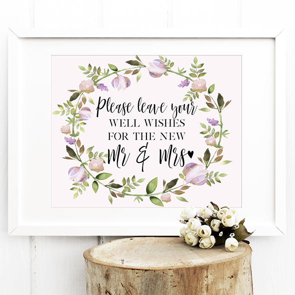 Wedding Guestbook Sign - Leave your well wishes - Print