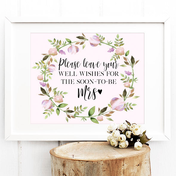 Bridal Shower Guestbook Sign - Leave your well wishes for the soon to be MRS - Print