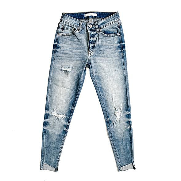 """Roselyn"" - Adult Distressed Ripped Light Faded Blue Wash Jeans"