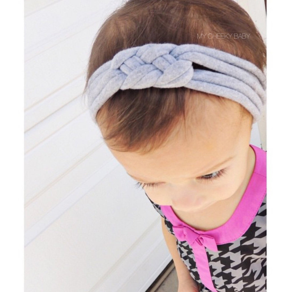 SALE Grey Sailor Knot Turban Headband