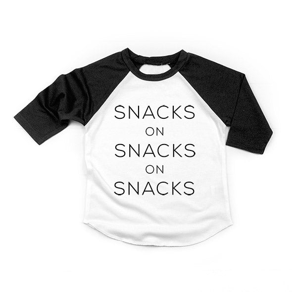 """Snacks on Snacks on Snacks"" Child Raglan Black/White - 18-24 Months"