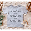 """Snacks on Snacks on Snacks"" Light Heather Grey Child T-Shirt - Size 6"